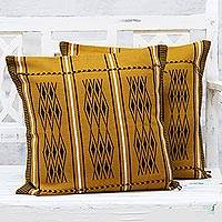 Cotton cushion covers, 'Amber Diamonds' (pair) - Two Handwoven Cotton Cushion Covers in Amber from India