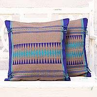 Cotton cushion covers, 'Triangle Charm' (pair) - Two Colorful Handwoven Cotton Cushion Covers from India
