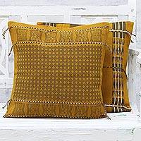 Cotton cushion covers, 'Enchanted Harvest' (pair) - Pair of Handwoven Cotton Cushion Covers from India