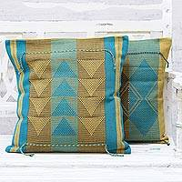 Cotton cushion covers, 'Geometry Luxury' (pair) - Pair of Triangle Motif Cotton Cushion Covers from India
