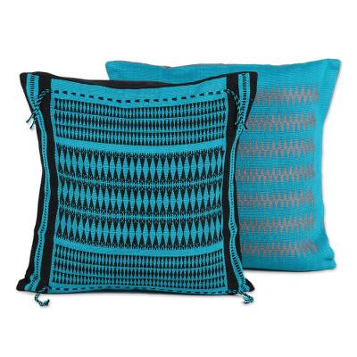 Cotton cushion covers, 'Teal Delight' (pair) - Pair of Handmade Teal Geometric Motif Cotton Cushion Covers