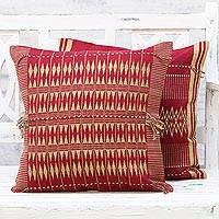 Cotton cushion covers, 'Claret Charm' (pair) - Two Cotton Cushion Covers in Claret and Beige from India