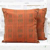 Cotton cushion covers, 'Pumpkin Charm' (pair) - Two Handwoven Cushion Covers in Pumpkin from India