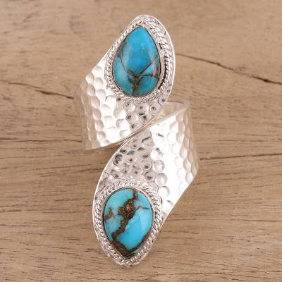 Sterling silver wrap ring, 'Dreamy Duo' - Composite Turquoise and Sterling Silver Wrap Ring from India