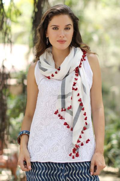 5909bbb276bf4 Hand Woven Silk Cotton Blend White Shawl with Red Tassels - Blissful ...