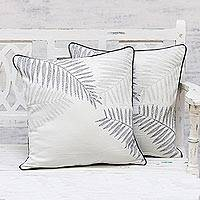 Cotton cushion covers, 'Charming Leaves' (pair) - 100% Cotton Leaf Pattern Neutral Cushion Covers Pair