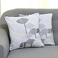 Cotton cushion covers, 'Exotic Tulips' (pair) - 100% Cotton Tulip Pattern Neutral Cushion Covers Pair
