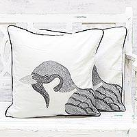 Cotton cushion covers, 'Charismatic Sparrow' (pair) - 100% Cotton Sparrow Pattern Neutral Cushion Covers Pair