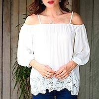 Rayon blouse, 'Poet' - Snow White Off-the-Shoulder Rayon Eyelet Hem Blouse