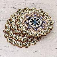 Beaded coasters, 'Beaded Sun' (set of 4) - Glass Bead Round Coasters with Floral Pattern (Set of 4)