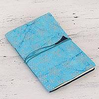 Handmade paper journal, 'Morning Snowfall' - Handmade Blue Winter Snowflake Paper Journal from India