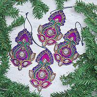 Beaded embroidered ornaments, 'Christmas Glam' (set of 4) - Set of 4 Glamorous Beaded Zari Embroidered Ornaments