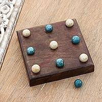 Mango wood tic-tac-toe game, 'Terni Lapilli' - Handmade Mango Wood and Glass Tic-Tac-Toe Game Set