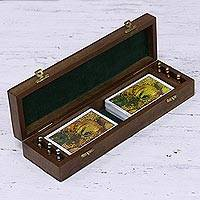 Wood and brass cribbage game, 'Cribbage Chest' - Handcrafted Wood and Brass Cribbage Game Set from India