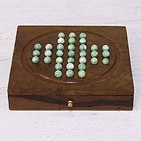 Wood solitaire game, 'Mind Over Marble' - Handmade Acacia Wood and Glass Solitaire Game Set from India