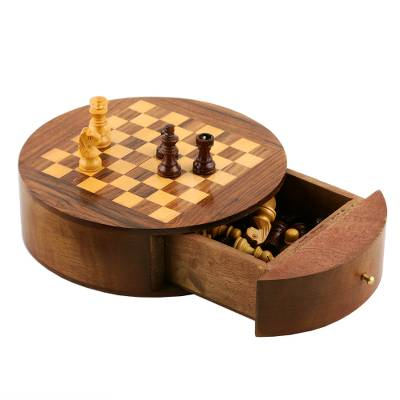 Wood mini chess set, 'Battle of the Minds' - Handmade Wood Chess Board Game Set from India