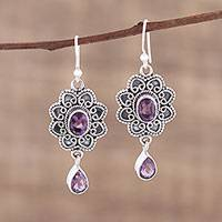 Amethyst dangle earrings, 'Opulent Lotus' - Handmade Amethyst and Sterling Silver Floral Dangle Earrings
