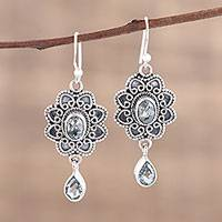 Blue topaz dangle earrings, 'Opulent Lotus' - Blue Topaz and Sterling Silver Floral Dangle Earrings