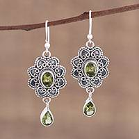 Peridot dangle earrings, 'Opulent Lotus' - Handmade Peridot and Sterling Silver Floral Dangle Earrings