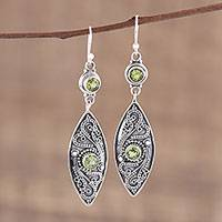 Peridot dangle earrings, 'Precious Petal' - Handmade Peridot and Sterling Silver Dangle Earrings