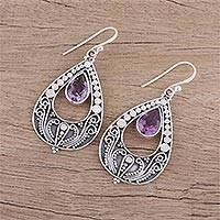 Amethyst dangle earrings, 'Palace Charm' - Hand Crafted Amethyst and Sterling Silver Dangle Earrings
