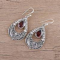 Garnet dangle earrings, 'Palace Charm' - Hand Crafted Garnet and Sterling Silver Dangle Earrings