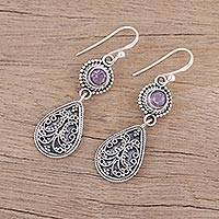 Amethyst dangle earrings, 'Jewel of India' - Hand Crafted Amethyst and Sterling Silver Dangle Earrings