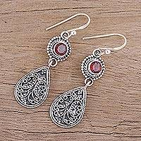 Garnet dangle earrings, 'Jewel of India' - Hand Crafted Garnet and Sterling Silver Dangle Earrings