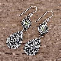 Peridot dangle earrings, 'Jewel of India' - Hand Crafted Peridot and Sterling Silver Dangle Earrings
