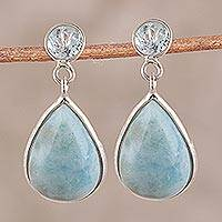 Larimar and blue topaz dangle earrings, 'Alluring Sky' - Dazzling Larimar and Blue Topaz Dangle Earrings from India