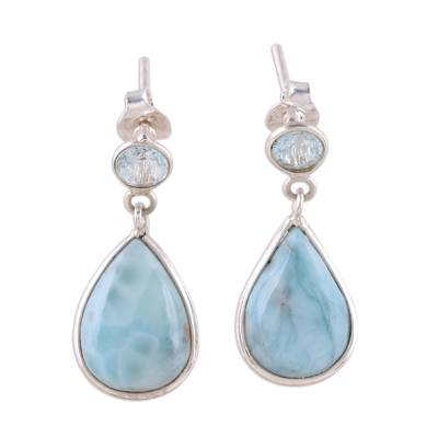 Dazzling Larimar and Blue Topaz Dangle Earrings from India