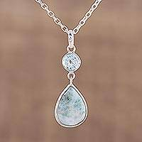 Larimar and blue topaz pendant necklace, 'Alluring Sky' - Dazzling Larimar and Blue Topaz Pendant Necklace from India