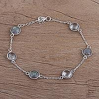 Labradorite and blue topaz station bracelet, 'Celestial Opulence' - Labradorite and Blue Topaz Sterling Silver Link Bracelet