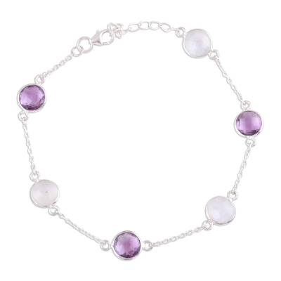 Rainbow Moonstone and Amethyst Sterling Silver Link Bracelet