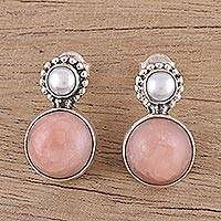Cultured pearl and opal drop earrings, 'Moonlit Blush' - Cultured Freshwater Pearl and Pink Opal Drop Earrings