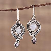 Rainbow moonstone and amethyst dangle earrings,