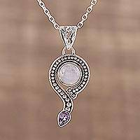 Rainbow moonstone and amethyst pendant necklace, 'Graceful Query' - Rainbow Moonstone and Amethyst Pendant Necklace from India
