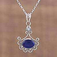 Lapis lazuli and blue topaz pendant necklace, 'Grace of Jaipur' - Lapis Lazuli and Blue Topaz Pendant Necklace from India