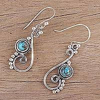 Sterling silver dangle earrings, 'Harmonious Waves' - Composite Turquoise and Sterling Silver Dangle Earrings