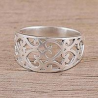 Sterling silver band ring, 'Amour Allure' - Sterling Silver Heart Motif Band Ring Handcrafted in India