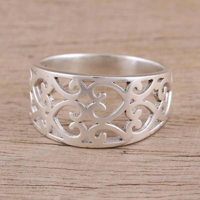 b2357fd6c Sterling silver band ring, 'Amour Allure' - Sterling Silver Heart Motif  Band Ring
