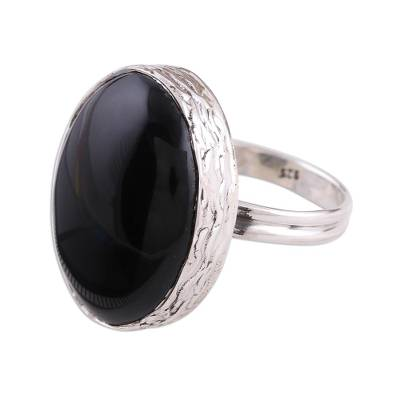 Onyx and Sterling Silver Cocktail Ring Handmade in India