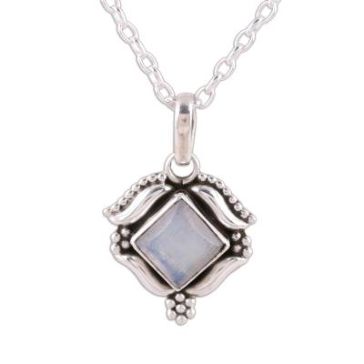 Rainbow Moonstone and Sterling Silver Pendant Necklace