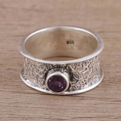 Amethyst single stone ring, 'Tranquil Twilight' - Amethyst and Sterling Silver Single Stone Ring from India