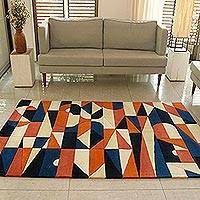 Wool area rug, 'Geometric Symphony' (5x7) - Hand Tufted Multicolored Geometric Wool Rug (5x7)