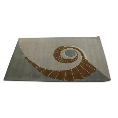 Hand Tufted Indian Grey Toned Geometric Wool Rug 5x7 Twirling
