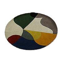Wool area rug, 'Illusion of Colors' (4 ft diameter) - Hand Tufted Multicolored Geometric Wool Rug (4 ft diam)