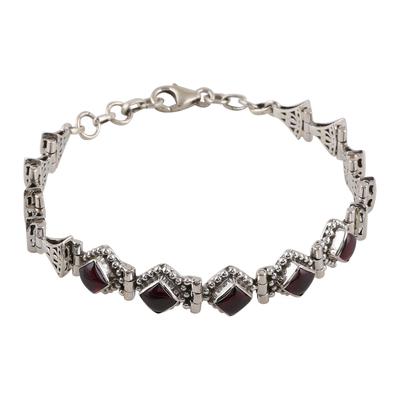 Sterling Silver Red Garnet Openwork Link Bracelet