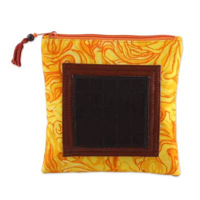 Handmade Versatile Indian Leather and Cotton Coin Purse