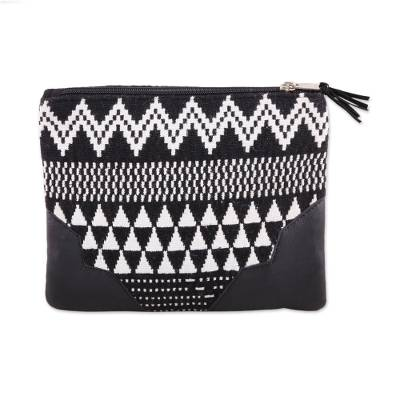 Handmade Black and White Cotton Cosmetic Purse from India
